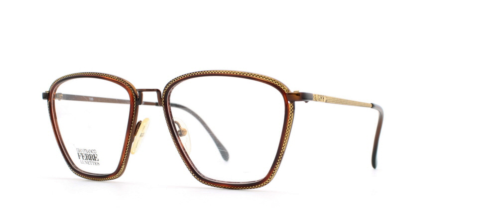3bce2287553 Gianfranco Ferre 99 11Q Brown Certified Vintage Rectangular Eyeglasses  Frame For Womens
